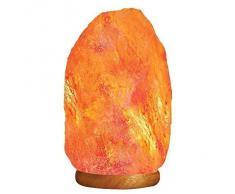 Lámpara de Sal de Roca del Himalaya Natural sobre Base de Madera. Altura 31cm - Peso 9-12kg