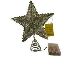 """8"""" estrella elástico con blanco Led luces - árbol estrella superior / Navidad dic"""