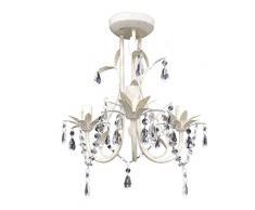 Lámpara de techo colgante Araña de cristal elegante blanco