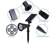 (2 Unidades ) T-SUN Foco Solar, Impermeable Luces Solares Exterior, 2 Modos de Iluminación Opcionales, ángulo de 180° Ajustable, Luz de Jardín para Entrada, Entrada, Camino. ( Blanco Natural 4000K )