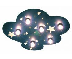 Niermann Standby 642 - Lámpara de techo con 6 puntos de luz estrellas fluorescentes (6 bombillas de E14, 40 W máx, 54 x 74 x 8 cm), diseño de cielo estrellado