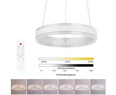 Lámpara de Techo Colgante Regulable - Iluminación Colgante de Acrílico, Lámpara de Techo LED Moderna, Temperatura del Color y Brillo Regulable a través de Mando a Distancia, 36W