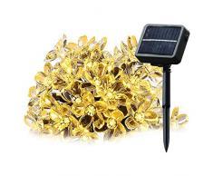 Cadena solar de luces LED Salcar de 5 metros, 20 la flor de cerezo de decoración, luminaria para navidad, fiestas, celebraciones (luz cálida)