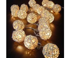 Funciona con pilas JnDee hecho a mano de ratán bola decorativo bola blanca 2 m 20 LED guirnalda de ratán-ball sauce-ball batería luz blanca cálida