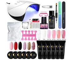 Saint-Acior 36W UV/LED Lámpara Uñas Secado Esmalte Semipermanente con Temporizadores 60/90/120s 6PCS Poly UV Gel Gel Extensión Gel Constructor Top Coat Base Coat Manicura Kit