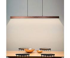 GRGR 20W LED Lámpara Colgante Regulable Con Control Remoto Moderna Iluminación de Suspensión Escritorio Barra de Luz Altura Ajustable Mesa de Comedor Lámpara Creativa Araña de Luces L100cm,Marrón