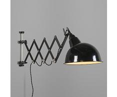 QAZQA Art Deco, Industrial, Rústico Aplique STRETCH negro extensible, Metal, Redonda / Adecuado para LED E27 Max. 1 x 60 Watt