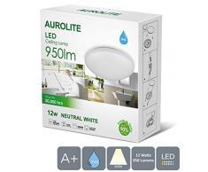 AUROLITE LED 12W IP44, Ø 26 cm, 950 LM, baño, cocina, pasillo, oficina, pasillo, lámpara de techo de baño, alta calidad, garantía de 1 año (4000 K).