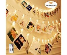 Qedertek Cadena de Luces 6.3M 40 LED, Foto Peg Clip Cuerda, Luces con Foto Clip Decoración de La Boda, Guirnalda de Luces para Decoración de Fotos (Blanco Calido)
