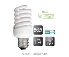 Pack-Lote 3 Unidades, Lámpara Bombilla bajo consumo Espiral - 25W, E27, 220-240V, luz cálida 2700K, 1375 Lumens