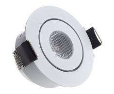 Kleine Sensati plana plano en luz LED empotrada luz de foco orientable, intensidad regulable, 210 lm, incluye controlador, carcasa color blanco, luz blanca fría T096 1 CW W