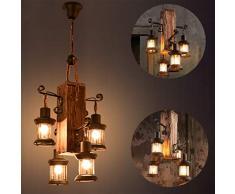 Lámpara en suspensión industrial vintage Lámpara colgante rústica de madera Metal y vidrio Creative E27 portalámparas Lámparas de araña regulable en altura 4 llamas negro Lámpara de techo para barra