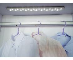 Naeve Leuchten 4069516 - Lámpara led para armarios (plástico, incluye 20 ledes de 0,75 W y 5 pilas AAA de 1,5 V, con sensor de movimiento, 50 x 3 x 1,8 cm, montaje magnético, luz blanca), color gris