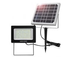 Luz Solar Led para Exterior, MEIKEE Foco Solar Jardín 300LM, Iluminación Blanca Fría, Lámpara Solar 60 LED de Súper Brillantes, Proyector Led Exterior IP66 Impermeable para Terraza, Garaje, Acera