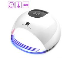 Lámpara LED UV Uñas, HALOVIE 80W Lámpara Secador de Uñas LED UV Gel Esmalte de Uñas Curado Luz Máquina Pantalla LCD Táctil Sensor Automático con 4 Temporizadores Profesional para Manicura Pedicura