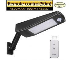 48 LED 4500mAh Luz Solar 900lm IP65 Impermeable Luces de Seguridad al Aire Libre con Soporte Ajustable y Control Remoto, Sensor de Movimiento120° Focos Solares Exterior Para Jardín Luz Blanca Cálida