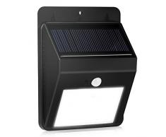 8 LED lámpara solar, KINGCOO Luminaire Exterieur detector de movimiento luz impermeable lámpara de pared foco para jardín, escalera patio, terraza, Patio, Inicio, Camino, dehors pared etc