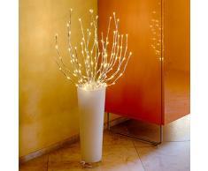 LuminalPark - Rama Decorativa plateada, 100 cm, 144 LED, luz cálida con destellos, cableado transparente, Decoración de Navidad apta para exteriores