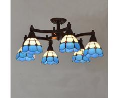 Mediterráneo metal Rocker brazos candelabros de salón sala de estudio Tiffany lámpara de techo de cristal sala de reuniones País rústico luces de techo