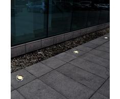 vidaXL 12x Focos Empotrables de Suelo de Jardín Redondos Luz de Patio Exterior