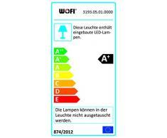 WOFI lámpara de pie, 5-lámpara de techo, Serie Midu, 5 x LED, 5 W, altura 160 cm, diámetro 50 cm, 3000 Kelvin, 430 lúmenes, cromo 3193,05,01,0000