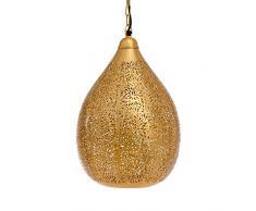Nuevo comprador Bazaar marroquí/Marroquí hecho a mano lámpara de techo colgante, globo de oro en arroz grabado interior – lámpara de techo, LED, E27, 40 W, hierro
