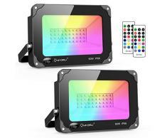 Onforu 2x 60W RGB LED Foco de Colores, Proyector IP66 Impermeable, Control Remoto Inalámbrico de 24 Teclas con 16 Colores y 4 Modos, Luz Interior y Exterior con Función de Memoria para Navidad Fiesta