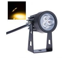 Bloomwin Impermeable proyector de la lámpara 3x3W IP44 AC/85-265V LED Blanco Cálido Impermeable Alta Potencia Ajustable para Aire Libre Césped Patio Jardín