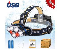 Aukelly Linternas Frontals LED Recargable Alta Potencia USB Linterna Frontale Frontal Luz Cabeza,Lámpara de Cabeza 8 Modos,Frontale 1000 Lumen,para Camping,con 18650 Baterías