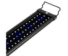 NICREW Luz LED Acuario, Pantalla LED Acuario, Iluminación LED para Acuarios Plantados Lámpara LED para Peceras 75-105 cm, 18W, 7000K con Enchufe