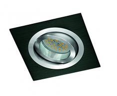 CristalRecord Helium - Kit de foco empotrable, cuadrado, portalámparas y bombilla, GU10, 8 W, luz neutra, 4200° K, color negro