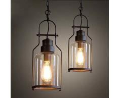 bayc Ejército Farol Retro Vintage lámpara colgante techo la Industria araña lámpara de techo Casquillo E27 Regulable con Cristal para salón comedor restaurante