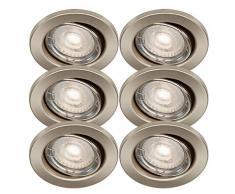 Trango Conjunto de 6 Foco LED empotrado en níquel mate redondo TG6729-062MOCOBSD con módulo LED ultraplano regulable de 3 niveles 3000K blanco cálido, luz empotrada, foco de techo, luz de techo