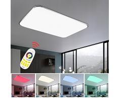 vingo lámpara Techo 48W RGB Regulable Resistente al Agua lámpara de Techo Moderna LED luz de Techo Dormitorio Cocina Sala de Estar Comedor lámparas