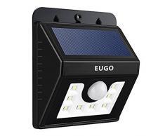 EUGO Lámpara Solar 8 LED Impermeable, Luz de Solar LED para el jardín, al aire libre, Valla, Patio, Terraza, Patio, Casa, Camino de entrada, Escaleras, exterior pared etc.