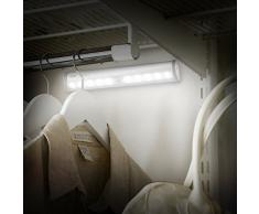 Aglaia Lámpara LED del Armario, 10 LEDs Barra de Luz Inalámbrica con Sensor de Movimiento, Blanco Frío y Operada por 4 AAA Baterías para Gabinete Aparador.