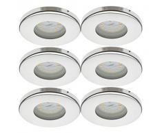 Trango 6 conjunto Focos empotrables LED IP44, luces empotradas TG6729IP-068B luz de baño, lámpara de techo, focos de techo, cromo, iluminación LED 6x 3000K de acero inoxidable blanco cálido