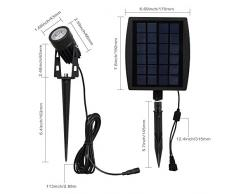 T-SUN Luz Solar de Exterior, Impermeable Focos de Energía Solar con 2 Cálidas Luces Blancas, para al Aire Libre Paisaje Lámpara de Césped Ajustable Luz Colgante para Jardín al Aire Libre Patio Árbol