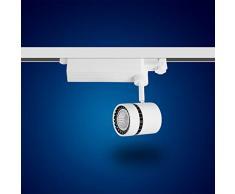 mext Electronic de 3 fases de alimentación carril Foco 15 W luz diurna Foco LED 3 fases, Blanco para sistema de raíles