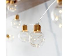 Lights4fun - Cadena de Luces con 10 Bombillas de Micro LED Blanco Cálido a Pilas para Interiores y Exteriores