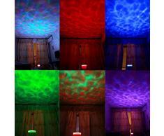 Songmics Luz nocturna LED Proyector océano con altavoz Multicolor Iluminación de ambiente FSL005