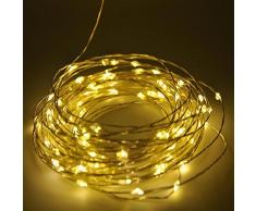 Shine-Co LED Starry Luces de Cadena 100 LEDs 10 metros estrella luz adaptador para decoración fiesta blanco cálido