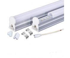 Regleta Integrada Tubo LED T5 60cm. 9w. Conexión Dos Laterales. Color Blanco Neutro (4500K). Fluorecente cocinas, armarios, trastero.