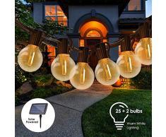 Guirnalda Luces Exterior Solar,Tomshine 7.62m G40 Cadena de Luces con 25+2 Bombillas,IP45 Impermeable,Solar y Micro-USB Carga,Guirnaldas Luminosas para Exterior,Interior,Jardines Fiesta de Navidad