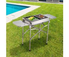 Outsunny Barbacoa de Carbón Plegable Camping– Color plateado - Acero – 104 x 30 x 68cm