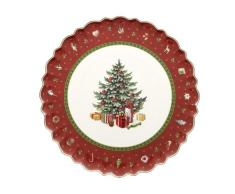 Villeroy & Boch 14-8585-2200 Bandeja para Tartas Redonda Toys Delight, para Navidad, 33 cm, en Festivo Embalaje de Regalo, Porcelana, 34.0x34.0x2.5 cm