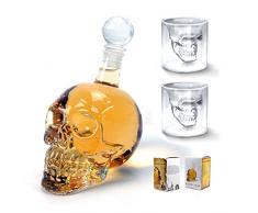 1000 ml de calavera juego de vasos Shot botella de cristal 2 piezas 73 ml gafas con decantador botella de agua