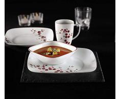 Corelle - Juego de vajilla de 16 piezas, de vidrio Vitrelle resistente a las roturas y las desportilladuras, modelo Hanami Gardens, servicio para 4 personas, color rojo