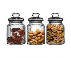 Get Goods Juego de 3 – 990 ML Nuevo Adornado Cristal Estriado té café y azúcar para Galletas tarros de Cristal