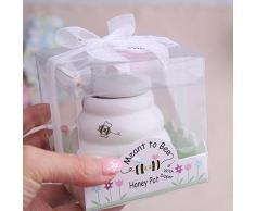 Tarro para miel de cerámica con cuchara dosificadora de madera en un bonito pack regalo
